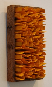"Groomer, 2014. Wood and acrylic on hardboard, 4.75 x 9.75 x 3.5"" approx."