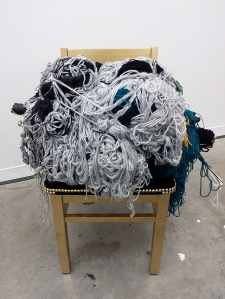 Irregular Pearl Gold Leaf, Mass-produced Chair, Yarn, Velvet, Branches, Steel, Brass Tacks, Tulle, Paint 50 x 24 x 28 2014