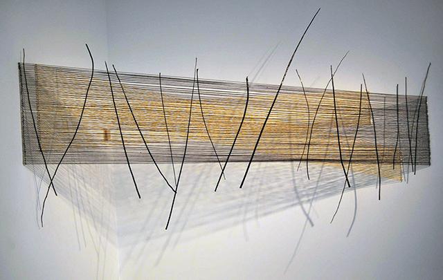 Tilting at Windmills Yarn, Steel, Paint, Branches 52 x 144 x 26 2013