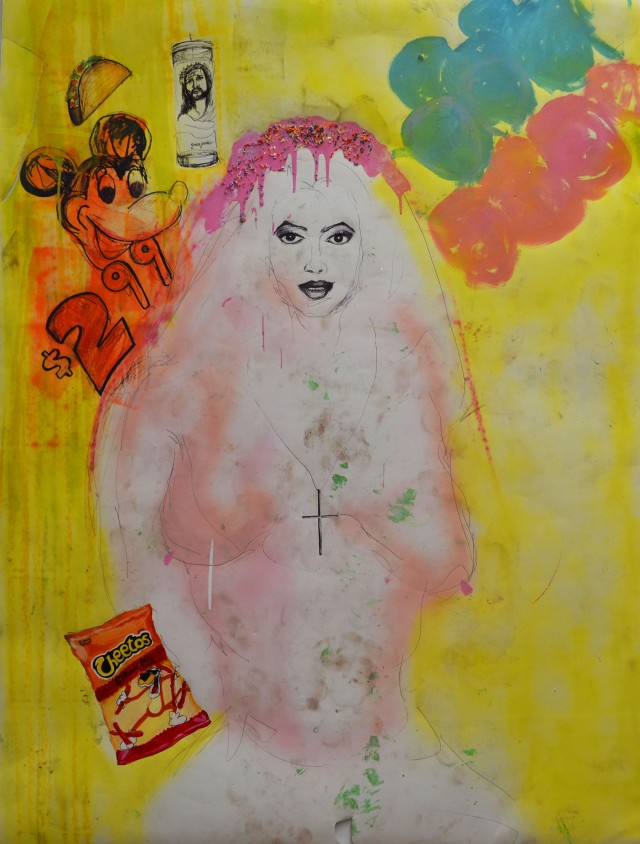 La Muchacha de $2.99, 2014 (5ft x 3ft) Mixed Media on Paper