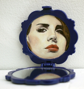 "Lana Compact, 2.75"" x 2.75"" x 2.5"", oil on compact mirror, 2014."