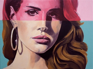 "Lana with Hoop Earring and Pink Stripe, oil on canvas, 12"" x 16"", 2014."