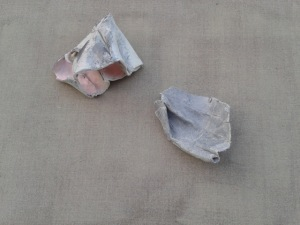 Untitled, clay, graphite, ond oil on linen, dimensionsvariable_2014