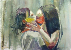 "White Girls Kissing, oil on paper mounted onto panel, 31"" x 43"", 2012"