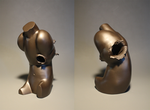 "Impact (38 special), 2014  clay, polyurethane, paint  |  18.5"" h x 7.5"" w x 11"" d ""Meeting Our Shadow"" series"