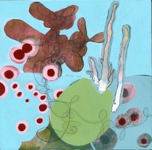 "Lasting Conversation, mixed media on panel, 8"" x 8"", 2009"