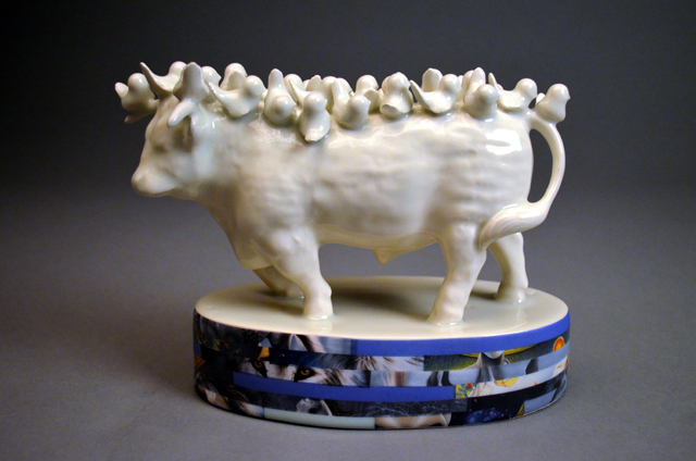 """Fight or Flight,"" Porcelain and vintage ceramic decals, 8"" h x 12"" w x 4"" d, 2014."
