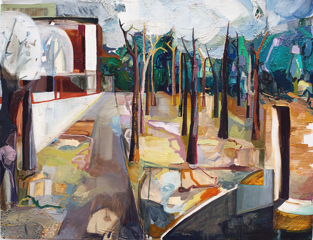"""Double Viewpoint, Jardin du Luxembourg Oil on Canvas 28"""" x 36"""" 2014"""