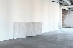 "Untitled (Lighthearted is the light), 2011, Plaster, gauze, wire, 42"" x 30"" x 1"" each"
