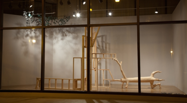 Searching For a Toehold, 2012 2x4s, Tarp, & Monofilament Dimensions Variable Photo Credit: Dustin Trey