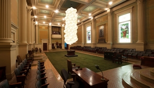 Corinthian Hall Mock-Up. Digital Image with Photoshop Collage of Proposed Installation. Dimensions Variable. 2014.
