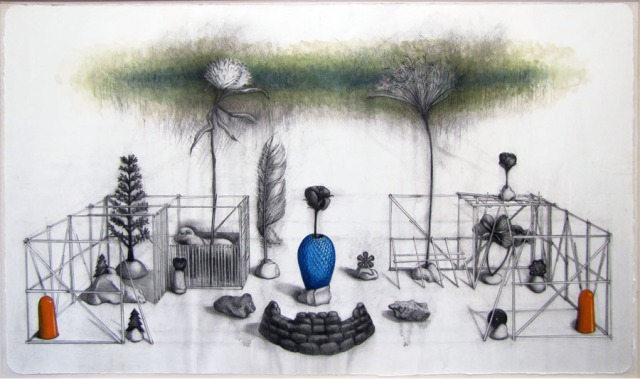 The Garden 2013, mixed media on paper 36 x 60 inches