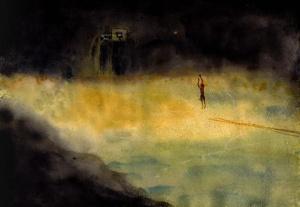 "One Man along Riverside / Watercolor /  15"" x 11.5""   / 2012"