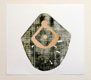 "Example of Normie Gold, 30"" x 30"" Collagraph on Rives BFK, 2014"