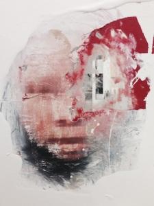 """Reflexes / Nigerian woman"" 2014, technique: acrylic paint,xerox, on glass."