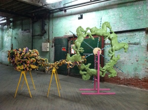 GagReel. Hobby Horses, Enlarged Tinker Toy Part, Fabric Knot, Wood, Saw Horses. Dimensions Variable.   2012