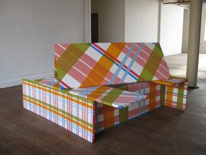 """Dwell. Foam and House Paint.   3.5"""" x 3.5' x 5'  2011"""