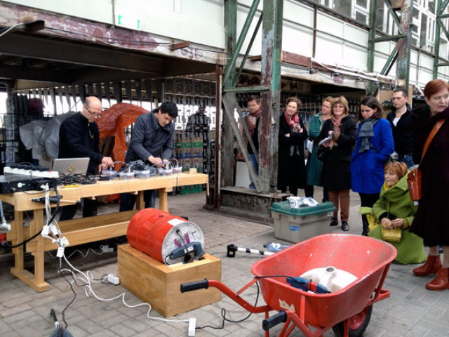 "- your work or studio ritual: image of the performance ""noise.machinary"" with Staalplaat (Dordtyart, Dordrecht, NL) with the same set which I've used there for part of my research."