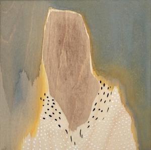 "Accipitrinae, 2014, Gouache on wood panel, 8"" x 8"""