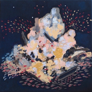 """Could you paint that campfire? ... No, it is too beautiful., 2014, Gouache on wood panel, 8"""" x 8"""""""