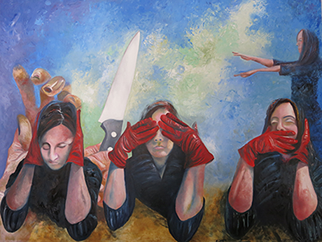 The Three Evils_ oil on canvas, 60w x 48h, 2014