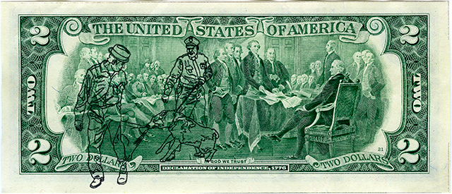 "American History/Money (Civil Rights Movement), Archival Pigment Print, 6.183"" x 2.365"", 2012"