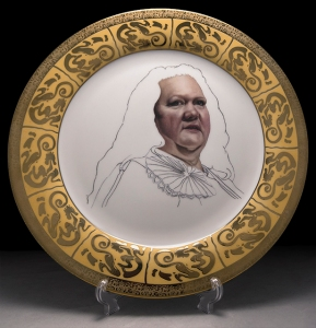 "Guess Who's Coming to Lunch (More Important People We Can't Afford to Know- Ms. Rinehart),White Porcelain, 22ct. Gold, Decal, 10"" dia., 2013"