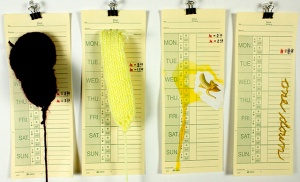 Banana, from the Time Cards Series, 2014             yarn, embroidery thread, wood glue, and found image on time cards