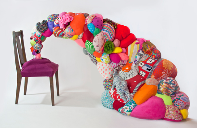 Vaginal Rapture 2014 | 222 x 116 x 118 cm | Old Furniture, Recycled clothes, Fibre Stuffing