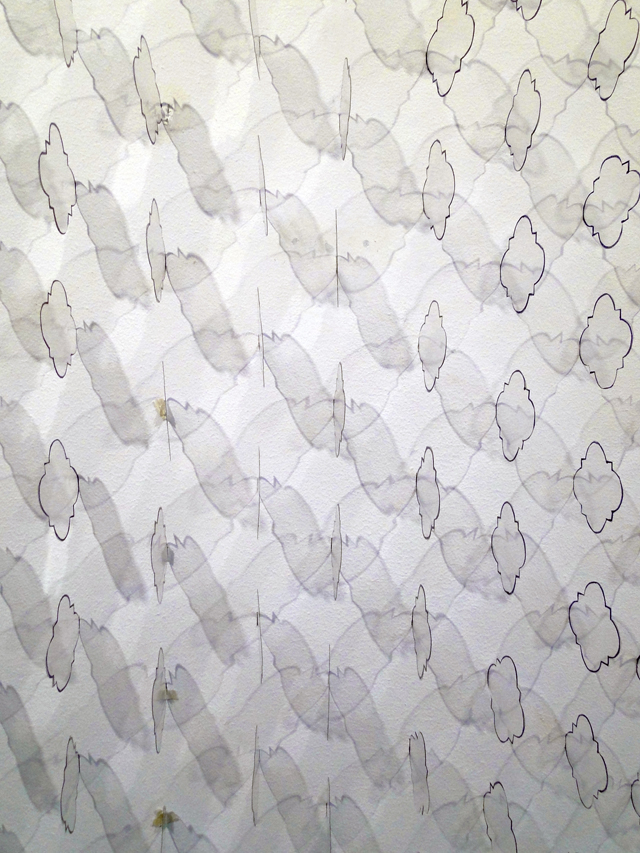 200 Quatrefoils, 200 Acetate quatrefoils and marker on cut dry wall. Site specific. 145 x 145 cm. 2014.