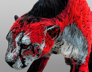 Cheetah - wire, wool, 1,20 x 2m; 2008