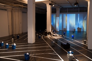 Float, 2014, thermoformed Styrene, buckets, water, paper, tape, HD video loop variable dims