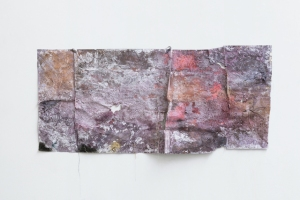 "Everything Gains/ Not Imaginary 2014 81"" (l) x 34"" (h). Sewn Paper support. Wax, various pigments, dyes and salts, dirt, sand, plastic, enamel paint, organic matter, glitter, thread."