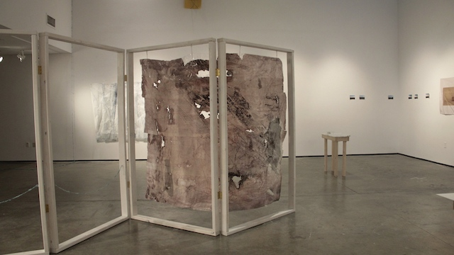Instantaneous Spasm 2014 Dimensions variable Paper, plastic, salt, wax, sand, various inks, pigments, and dyes, tape, string.