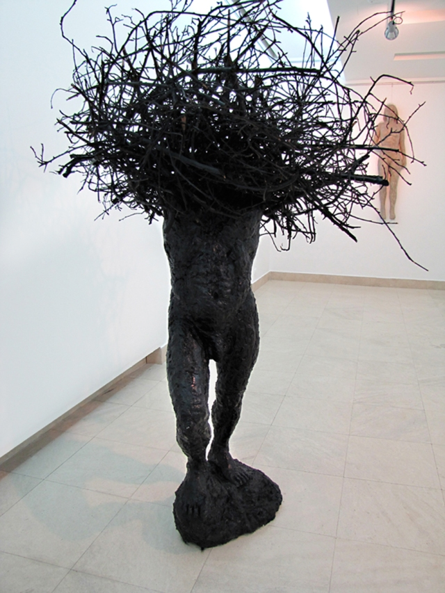 Chaos - gypsum, branches, paint, 2m x 1,30m