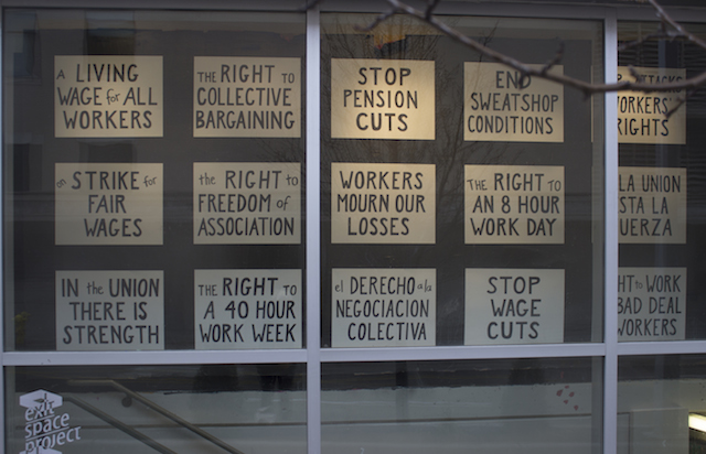 """New Demands?"" Performance placards at Exit Space, Urban Institute of Contemporary Art, Grand Rapids MI, 2014"