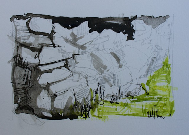 Movement 2,  Mixed Media:  pencil, ink & gouache on paper, artwork 8x12cm, paper 13x18cm, 2014