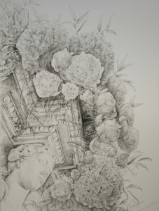Drawing inspired by Adam fireplace 2, Croome Court, Pencil on paper, 76 x 57cm, 2012