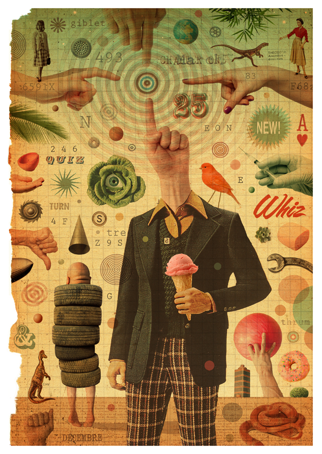 Whiz, 2012 Collage (digital) 8.5W X 12H
