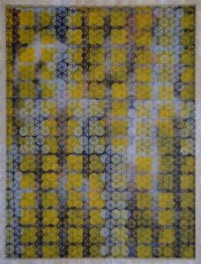 Yellow Quatrefoil, Mixed Media on Canvas, Screen, and Wood. 2014. 105 x 80 x 5 cm.