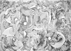 "title: Constriction no.2 medium: Ink on paper size: 22""x30"" year: 2012"