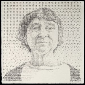 "Kathy (Stanton 1892), created on a manual typewriter, 9.5 x 9.5,"" 2014"