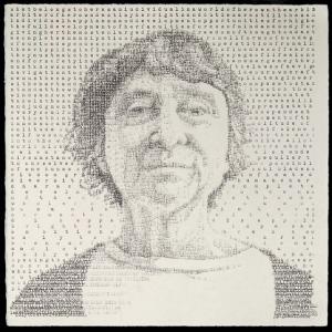 "Kathy (Stanton 1892), created on a manual typewriter, 9.5 x 9.5,"" 2014"