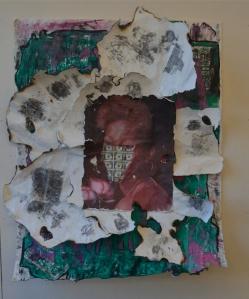 Title:Dear Gloria, Silkscreen, Sewing and Oil Pastels. L48xW38 2014