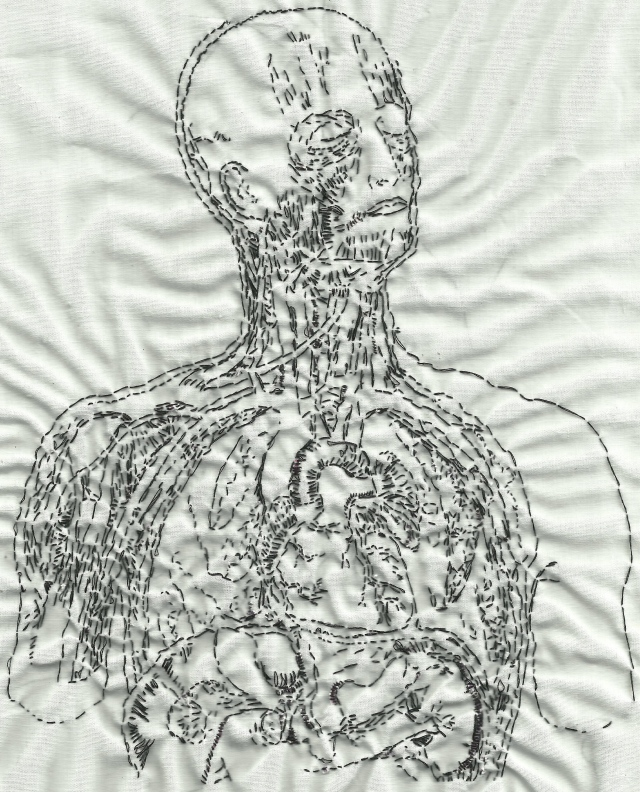 "Embroidery referencing Anatomie normale du corps humain: atlas iconographique de XVI planches by Sigismond Laskowski. Black thread on muslin. 4.5""x7"". 2012."