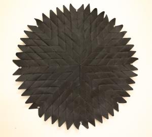 "Black Quilt. Pieced emery cloth. 36"". 2015."