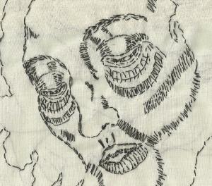 Detail of St. John the Baptist. Black thread on muslin.