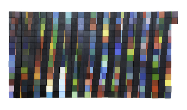 Year In Color: Lunar Phases 2012 (52 weeks + 2 days), 2012, acrylic/gouache on panels, 70 x 135 in