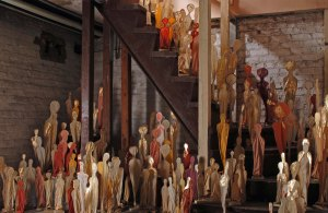 """A Full Taste of Happiness"""" – 2010 - 2012 310 sculptures 8"""" – 30"""" tall Handmade paper, mixed media"""