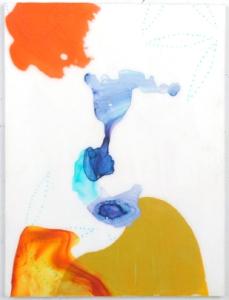 "Passing Strange 3, acrylic and Mylar on board, 16"" x 12"", 2014"